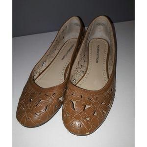 Adrienne Vittadini Brown Leather Charlann Flats